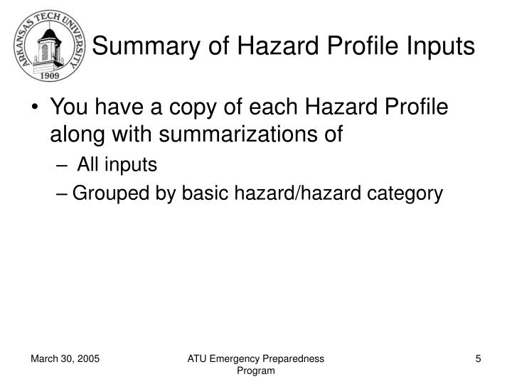 Summary of Hazard Profile Inputs