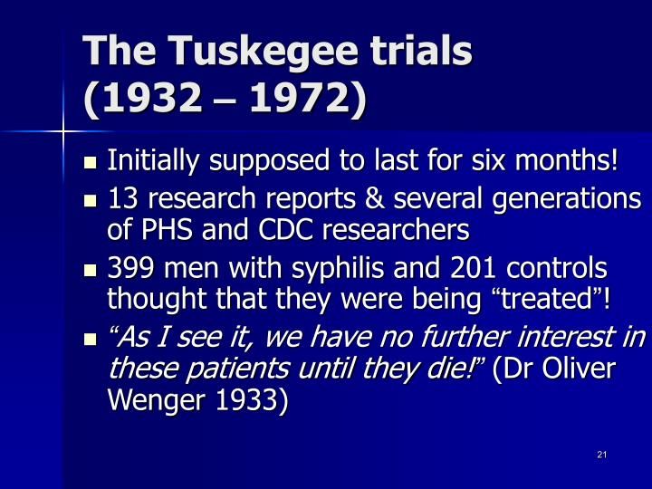 The Tuskegee trials