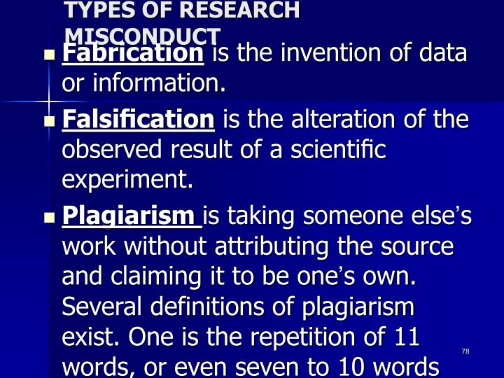 TYPES OF RESEARCH MISCONDUCT