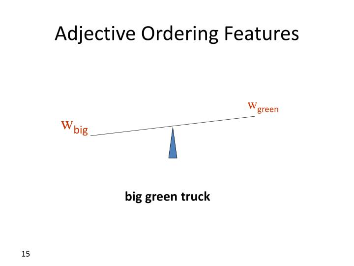 Adjective Ordering Features