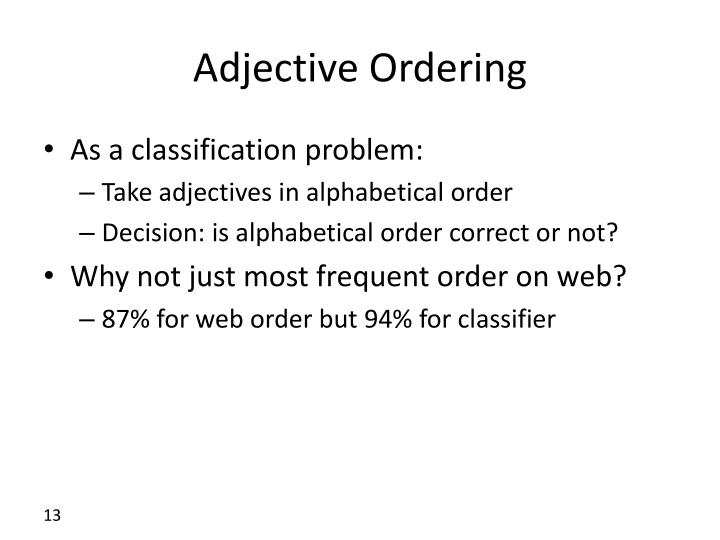 Adjective Ordering