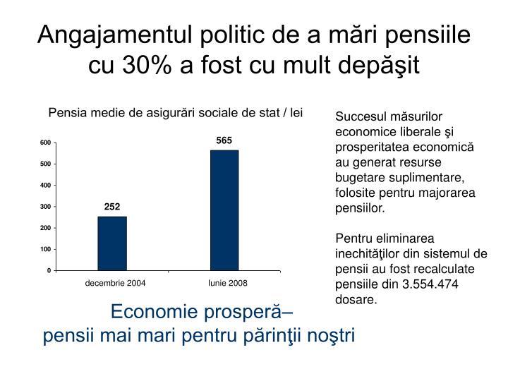Angajamentul politic de a mări pensiile cu 30% a fost cu mult depăşit