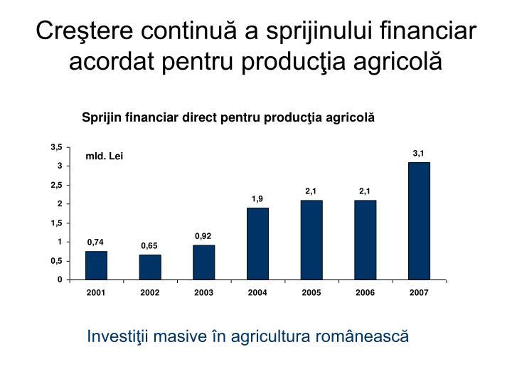Creştere continuă a sprijinului financiar acordat pentru producţia agricolă