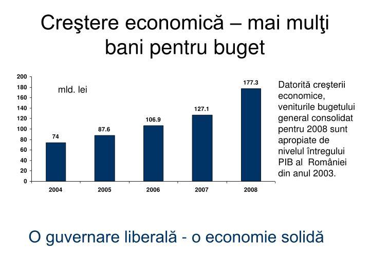 Creştere economică – mai mulţi bani pentru buget