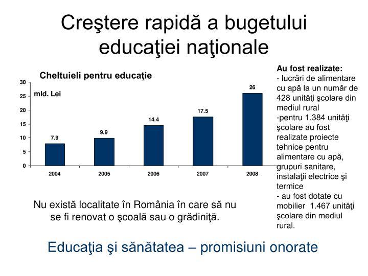 Creştere rapidă a bugetului educaţiei naţionale