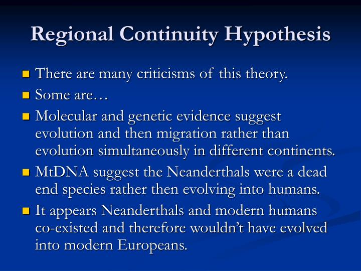 Regional Continuity Hypothesis