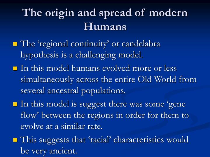 The origin and spread of modern Humans