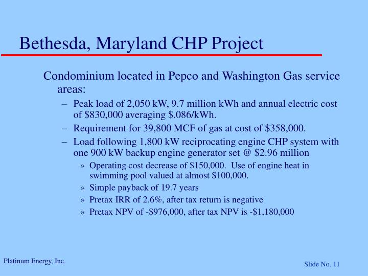 Bethesda, Maryland CHP Project