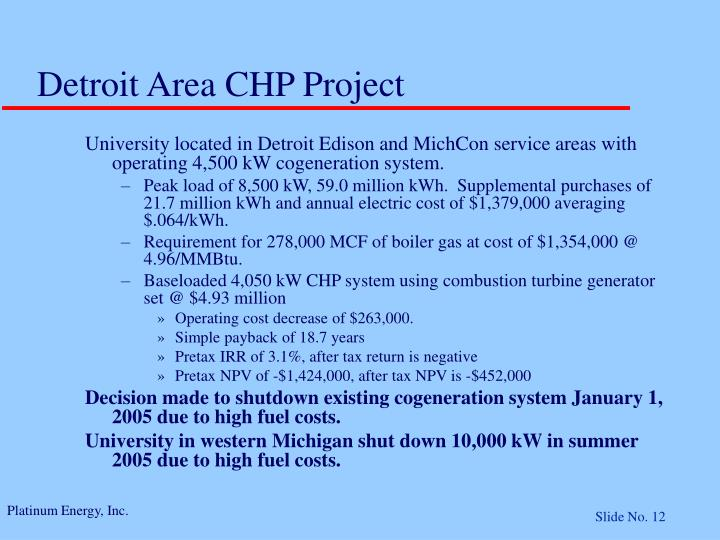 Detroit Area CHP Project