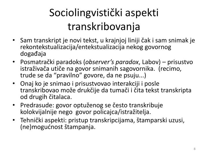 Sociolingvistički aspekti transkribovanja