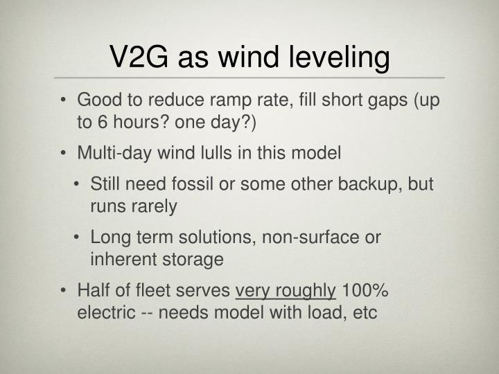 V2G as wind leveling