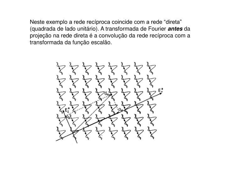"""Neste exemplo a rede recíproca coincide com a rede """"direta"""" (quadrada de lado unitário). A transformada de Fourier"""