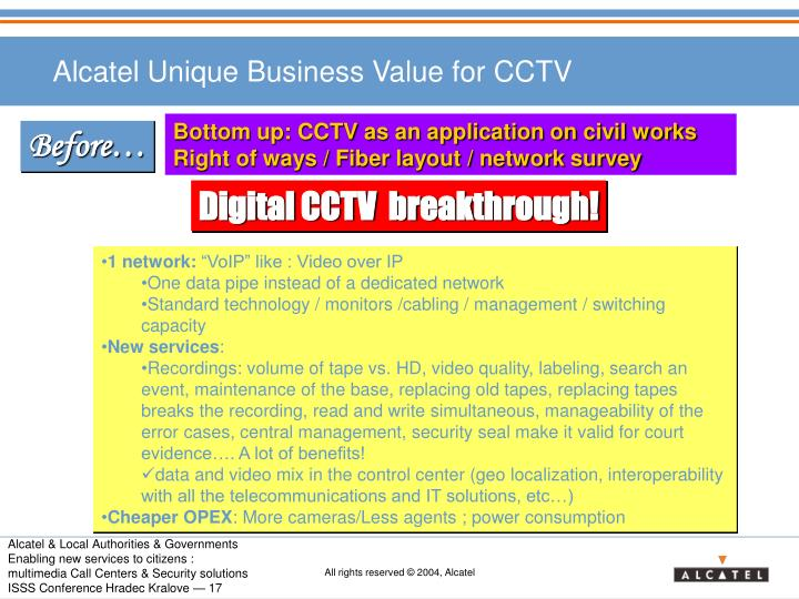 Alcatel Unique Business Value for CCTV