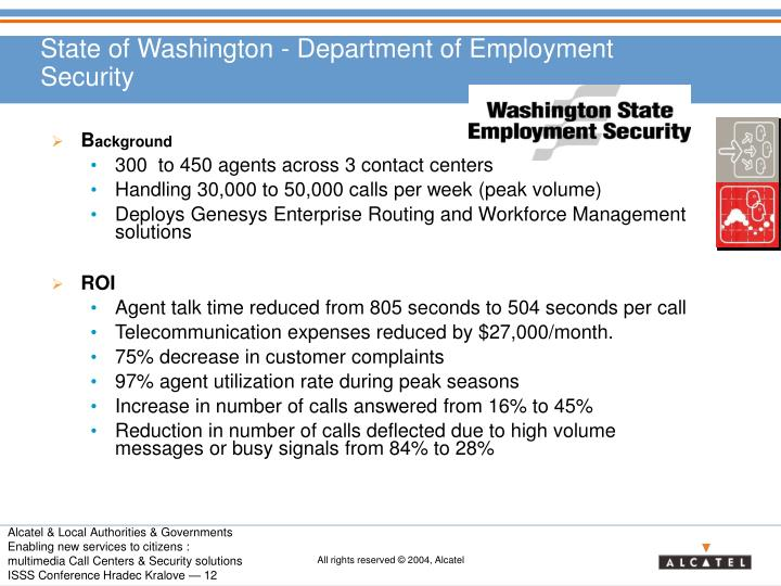 State of Washington - Department of Employment Security