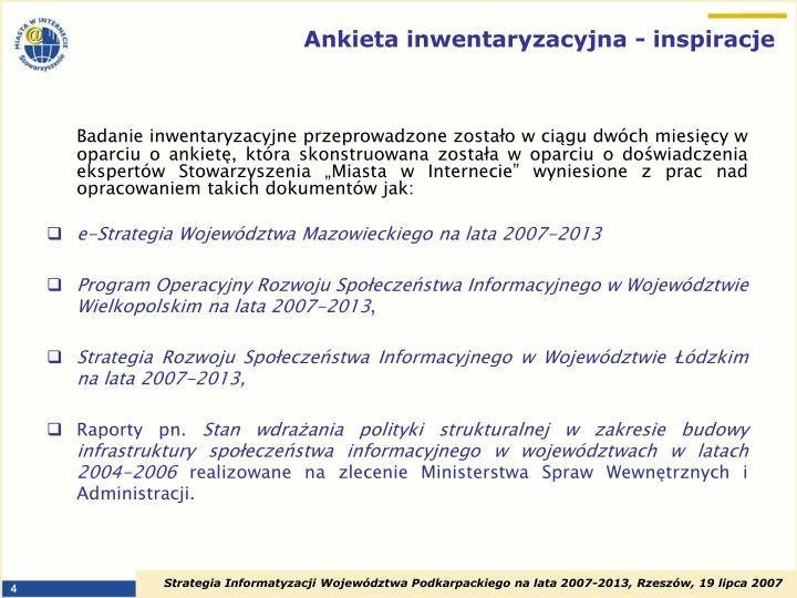 Ankieta inwentaryzacyjna - inspiracje