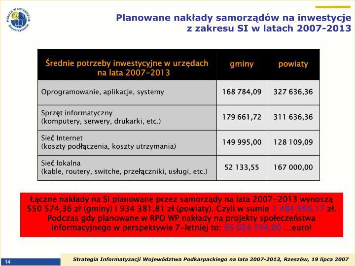 Planowane nakłady samorządów na inwestycje z zakresu SI w latach 2007-2013