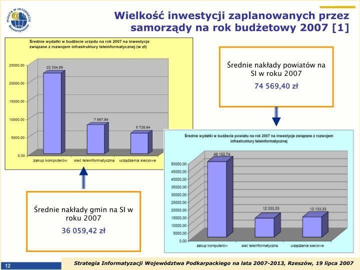 Wielkość inwestycji zaplanowanych przez samorządy na rok budżetowy 2007 [1]