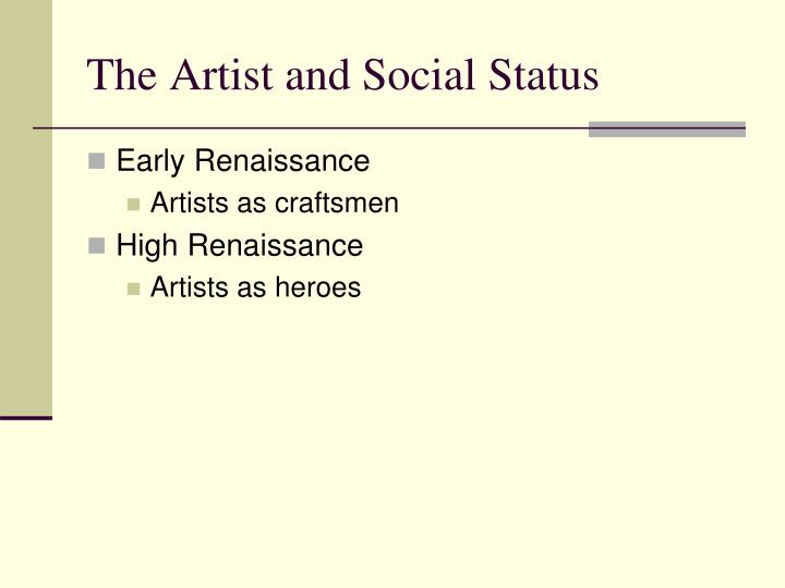 The Artist and Social Status