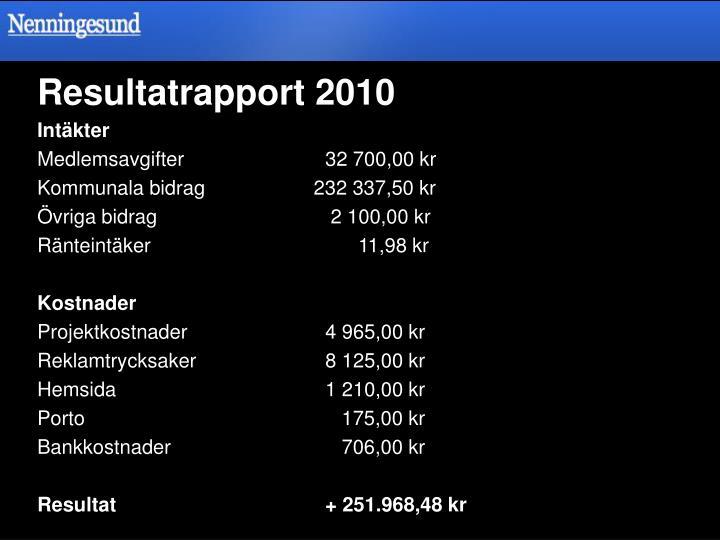 Resultatrapport 2010