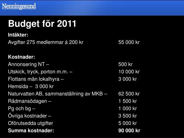 Budget för 2011