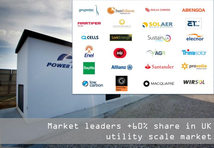 Market leaders +60% share in UK utility scale market