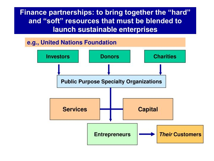 "Finance partnerships: to bring together the ""hard"" and ""soft"" resources that must be blended to launch sustainable enterprises"