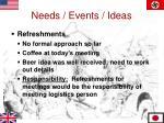 needs events ideas