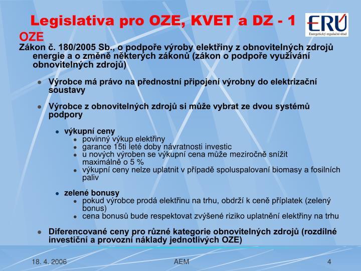 Legislativa pro OZE, KVET a DZ - 1
