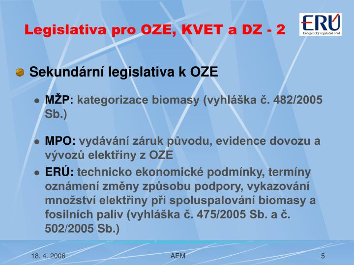 Legislativa pro OZE, KVET a DZ - 2