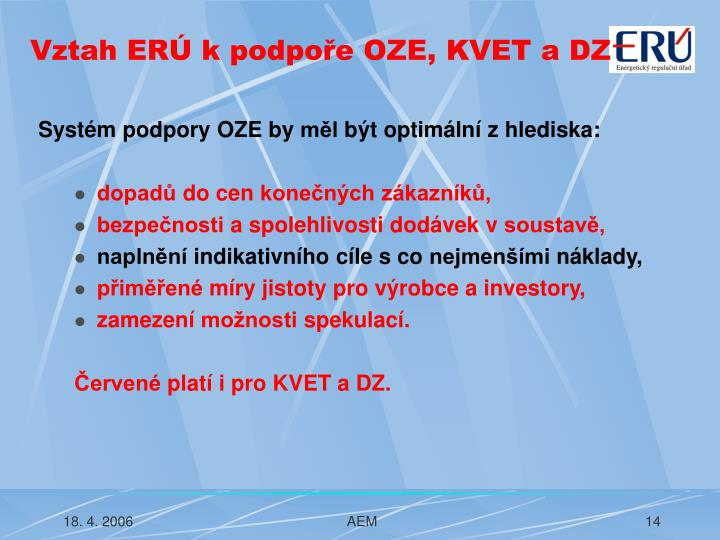 Vztah ERÚ k podpoře OZE, KVET a DZ