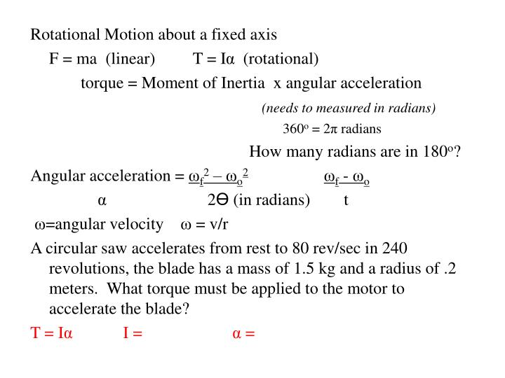 Rotational Motion about a fixed axis