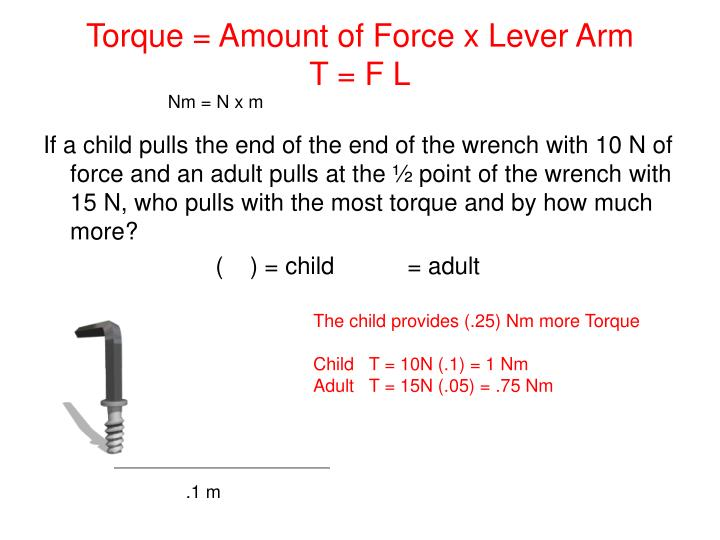 Torque amount of force x lever arm t f l
