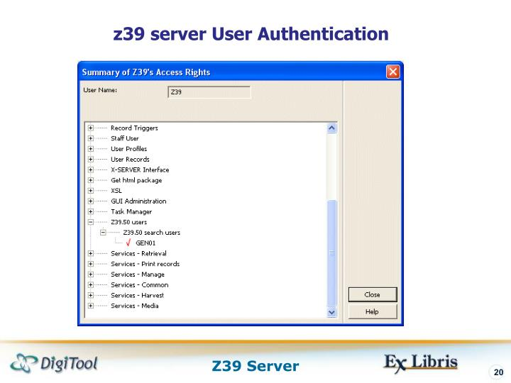 z39 server User Authentication