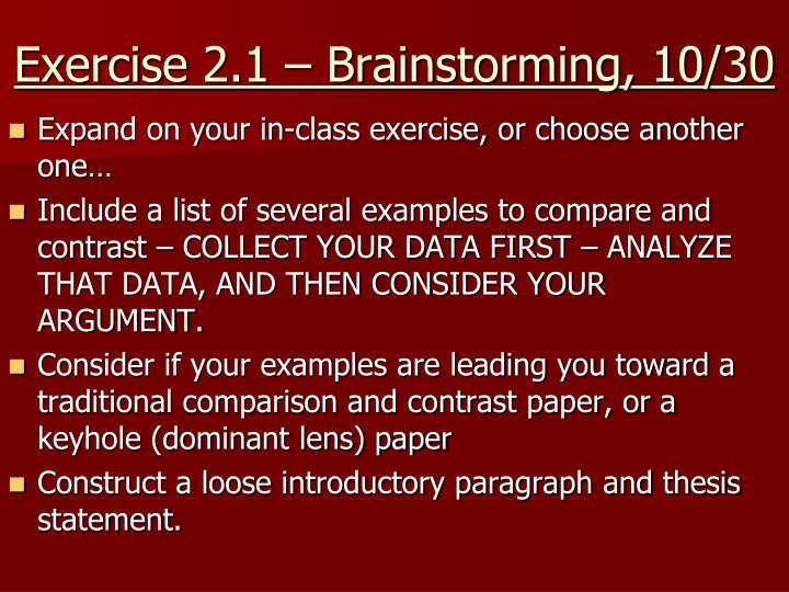 Exercise 2.1 – Brainstorming, 10/30
