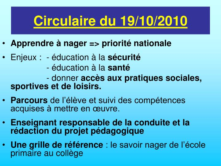 Circulaire du 19/10/2010