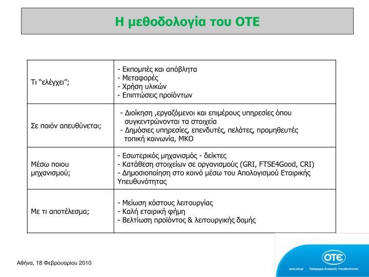 Η μεθοδολογία του ΟΤΕ