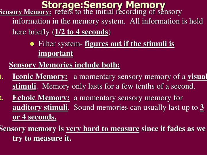 Storage:Sensory Memory