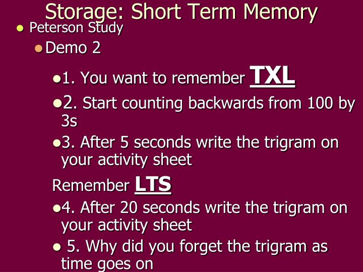 Storage: Short Term Memory
