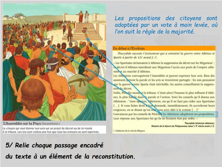 Les propositions des citoyens sont adoptées par un vote à main levée, où l'on suit la règle de la majorité.
