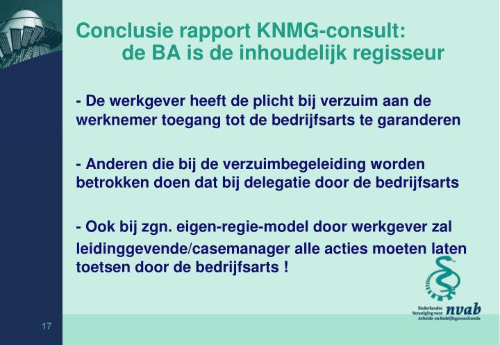 Conclusie rapport KNMG-consult: