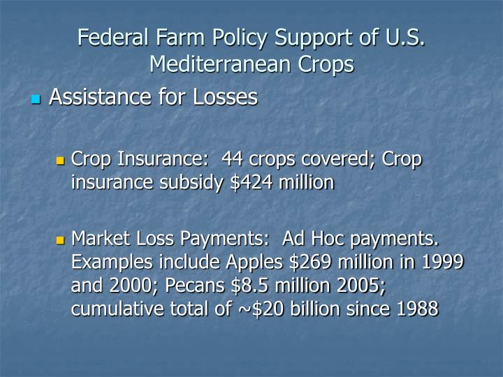 Federal Farm Policy Support of U.S. Mediterranean Crops