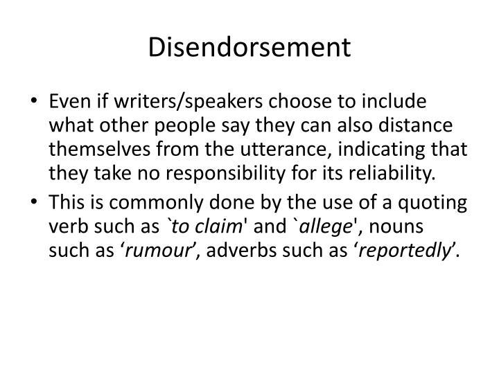 Disendorsement
