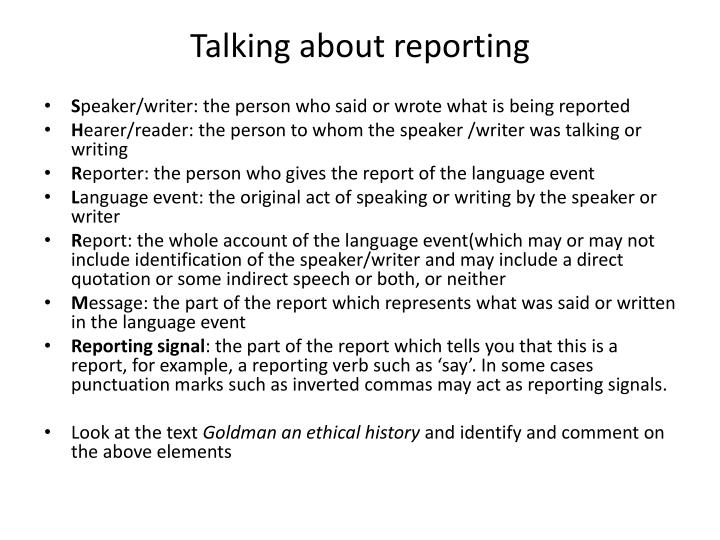 Talking about reporting