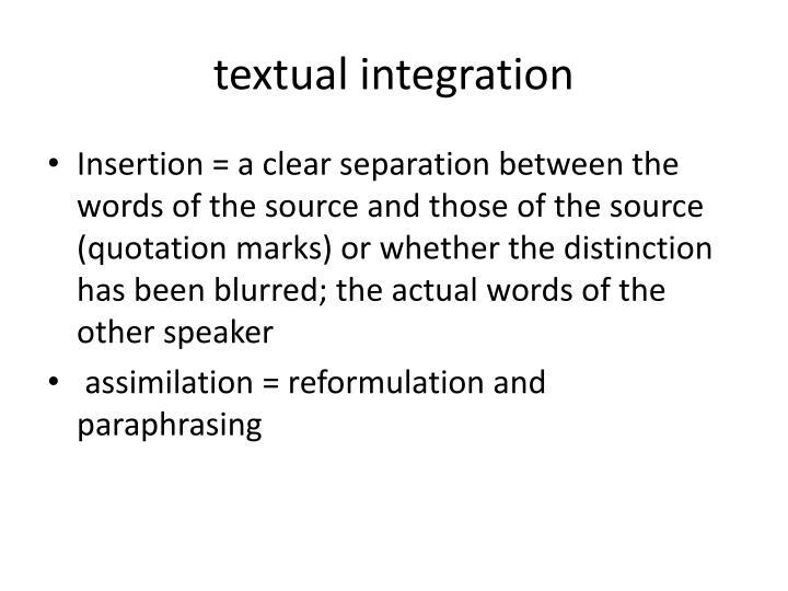 textual integration