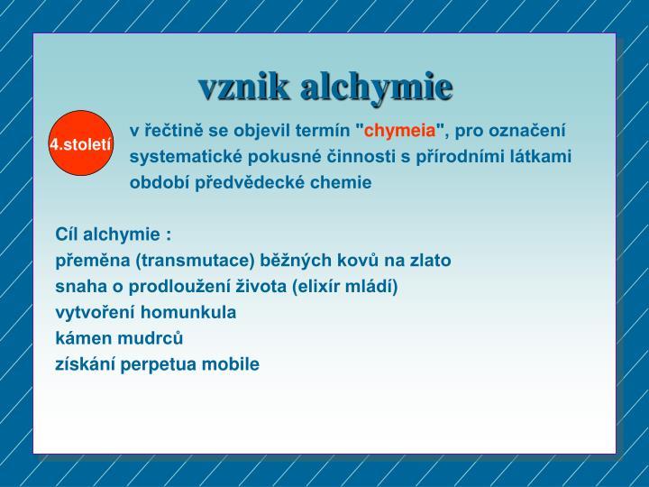 vznik alchymie
