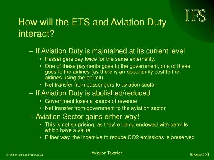 How will the ETS and Aviation Duty interact?