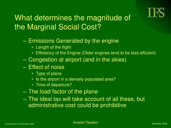 What determines the magnitude of the Marginal Social Cost?