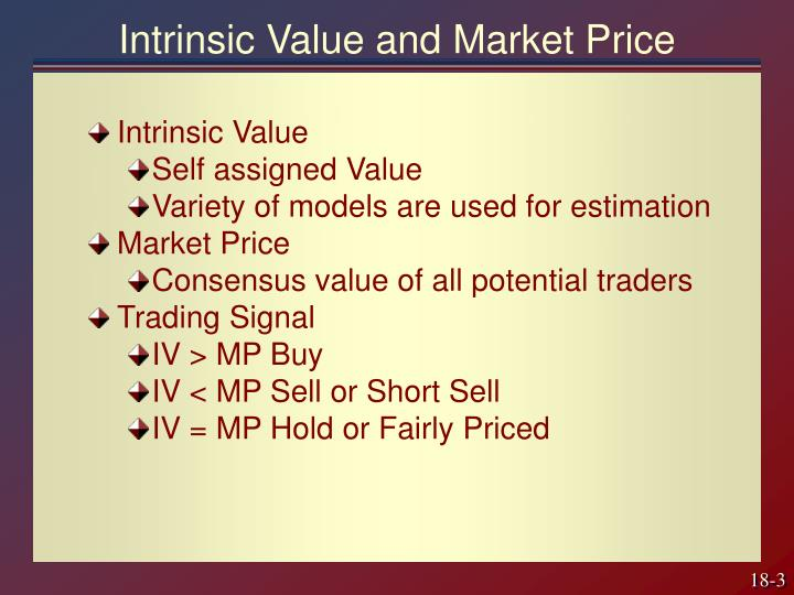 Intrinsic Value and Market Price