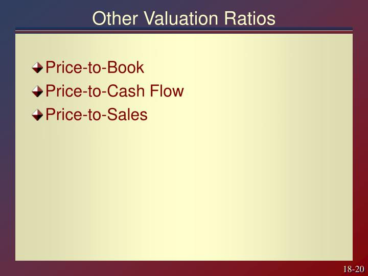 Other Valuation Ratios