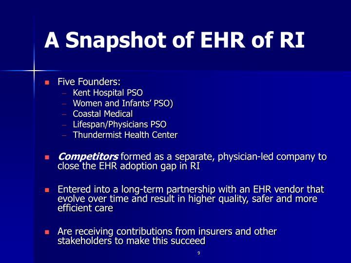 A Snapshot of EHR of RI